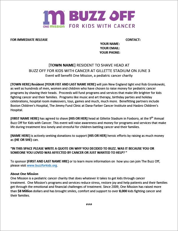 Buzz for kids press release template instructions buzz for Writing press releases template